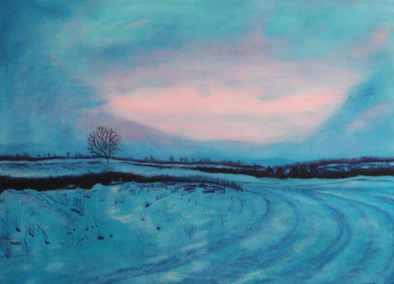 Acrylic painting Winter Dusk by Denise Gracias