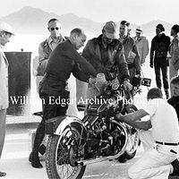 Photography [VH-RFNR8] Rollie Free adds fuel to the record-setting John Edgar HRD at Bonneville - September 13, 1948 by William Edgar