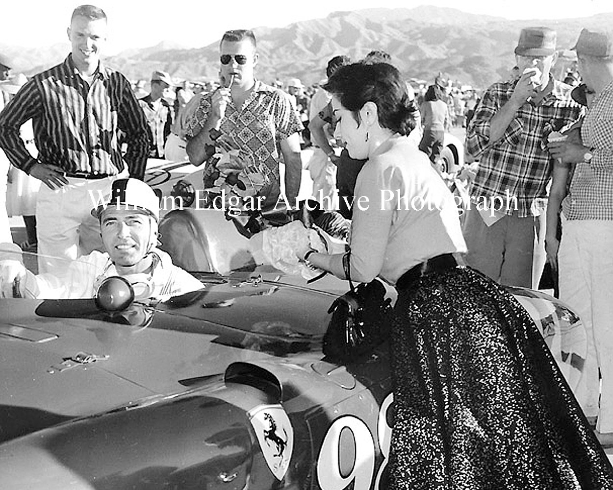 Photography [CS-FYPS6] Carroll Shelby in the Edgar Ferrari 410 Sport with Dan Gurney and Yma Sumac - November 3, 1956  by William Edgar