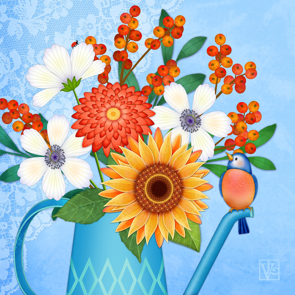 September Floral Bouquet  by Valerie Lesiak
