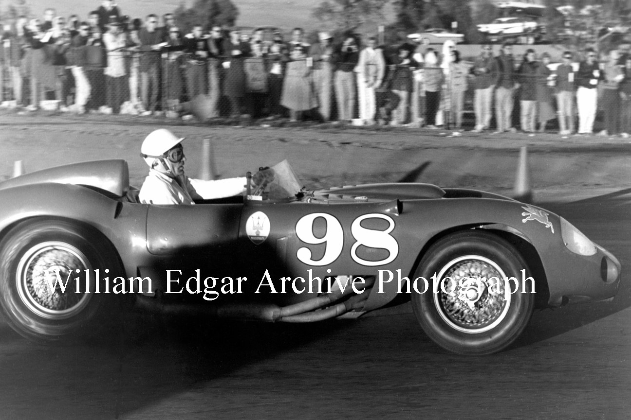 Photography [CS-3RRA7] Carroll Shelby, John Edgar's Maserati 450S, in final lap on his way to win - Riverside Raceway - November 17, 1957 by William Edgar