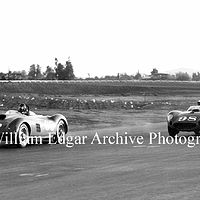 Photography [DG-DLSRR] Dan Gurney (Ferrari 375 Plus) leads Carroll Shelby (Maserati 450S) near Riverside race end - November 17, 1957  by William Edgar