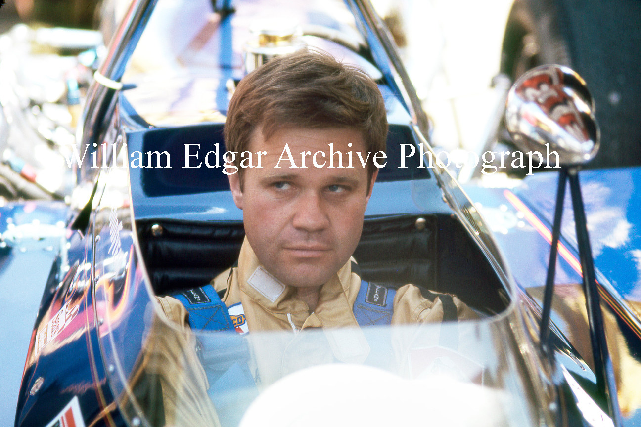 "Photography [RI-MDPIQ] Mark Donohue in the Penske-McLaren M16 on Indy ""500"" Pole Day - Indianapolis Motor Speedway, Indiana - May 15, 1971 by William Edgar"