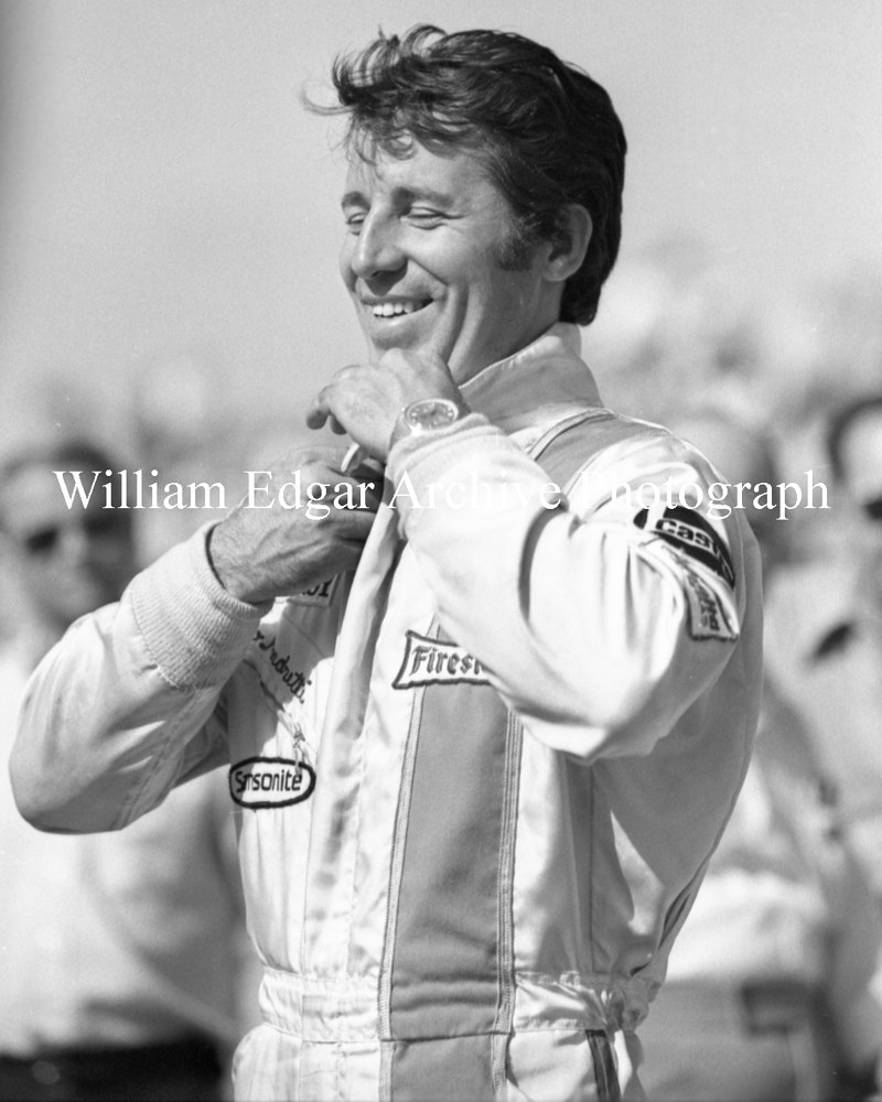 "Oil painting [RI-MAPIQ] Mario Andretti at Indy ""500"" Pole Day - May 15, 1971 by William Edgar"