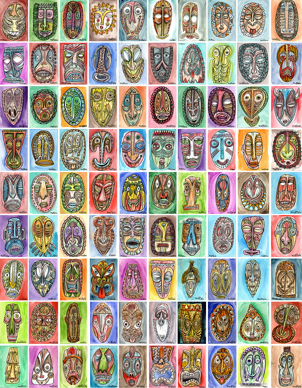 89 Ninety Tikis by Kenneth M Ruzic