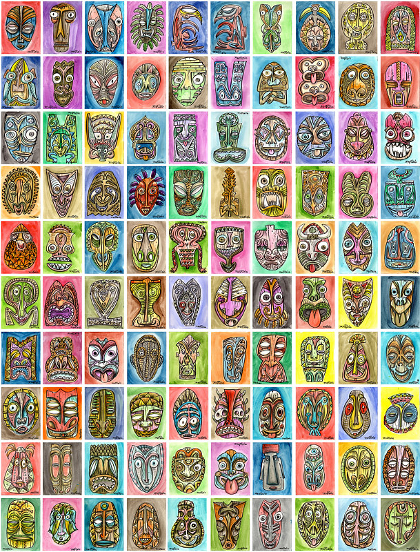 90. One Hundred Tikis by Kenneth M Ruzic