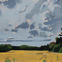 Acrylic painting Bean Field, Evening by Harry Stooshinoff