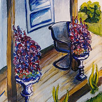 Acrylic painting Porch at Cosy Cottage Port Colborne by Michelle Marcotte
