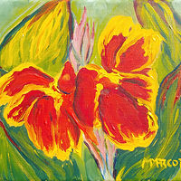 Oil painting Canna lilies (acrylic on canvas) by Michelle Marcotte