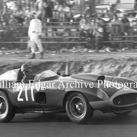 Photography [RG-RARS7] Richie Ginther on way to win at Riverside Raceway in John Edgar's Ferrari 410 Sport - Riverside, California - September 22, 1957 by William Edgar