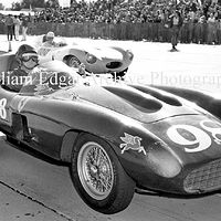 Photography [JM-PG857] Jack McAfee in John Edgar's Ferrari 857 Sport on Main start grid - Palm Springs Road Races - February 26, 1956 by William Edgar