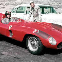 Photography [JM-ME857] Jack McAfee with John Edgar's newly arrived from factory Ferrari 857 Sport - Willow Springs Raceway - February 22, 1956 by William Edgar
