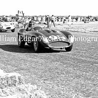 Photography [JM-PR857] Jack McAfee in John Edgar's Ferrari 857 Sport leading Pete Woods' Jaguar D-Type - Palm Springs California - February 26, 1956 by William Edgar