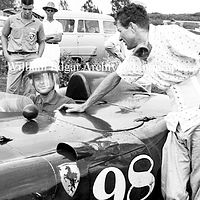 Photography [PH-HSSA7]  Phil Hill in John Edgar's Ferrrai 410 Sport  - And Carroll Shelby - Dillingham Field - Oahu - April 19, 1957 by William Edgar
