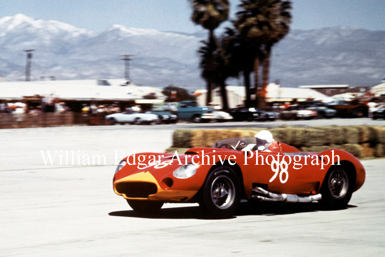 Photography [CS-MAPS8] Carroll Shelby on his way to win Palm Springs Preliminary in John Edgar's Maserati 450S - April 12, 1958 by William Edgar
