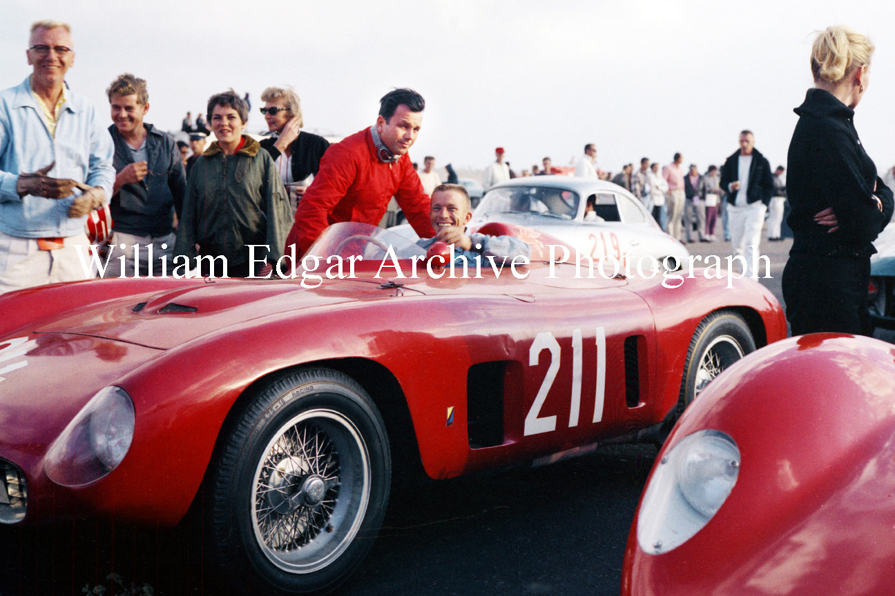 Photography [RG-NHGO7] Richie Ginther, with John von Neumann, in John's Ferrari 500TR at Hourglass Field - San Diego, California - October 20, 1957 by William Edgar