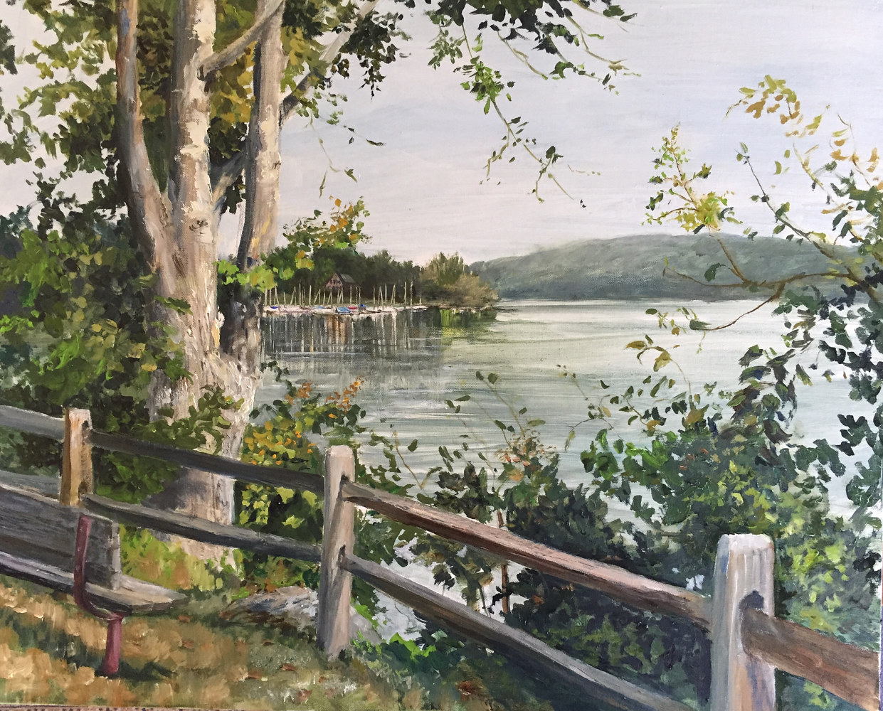 Oil painting A view of Chatterton Point, New Fairfield, CT. by Elizabeth4361 Medeiros