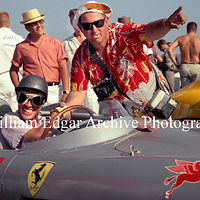 Photography [RG-NSBS7] Richie Ginther, with Lester Nehamkin, in John von Neumann's Ferrari 625 TRC - Santa Barbara, California - September 1, 1957 by William Edgar