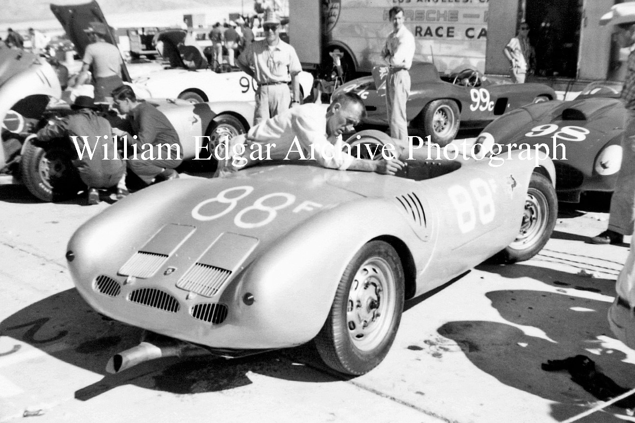 "Photography [RV-PSPSL] Joe Landaker preps John Edgar's ""Le Mans"" Porsche 550A RS for Palm Springs race - Palm Springs, Caifornnia - November 4, 1956 by William Edgar"