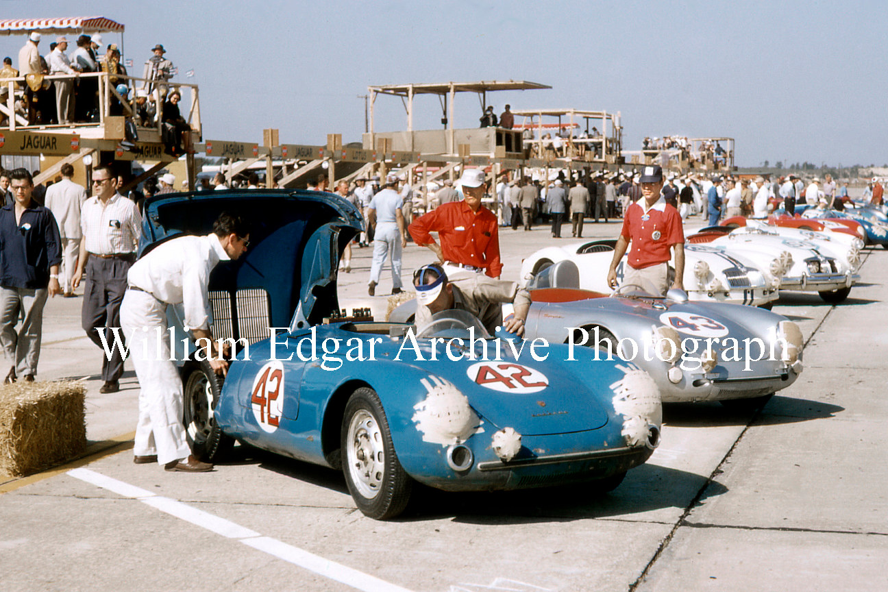 Photography [RV-SPM56] Porsche 550 Spyders, the factory #42 and Joe Landaker with John Edgar entry #43, in Sebring 12 Hour pits - March 24, 1956 by William Edgar