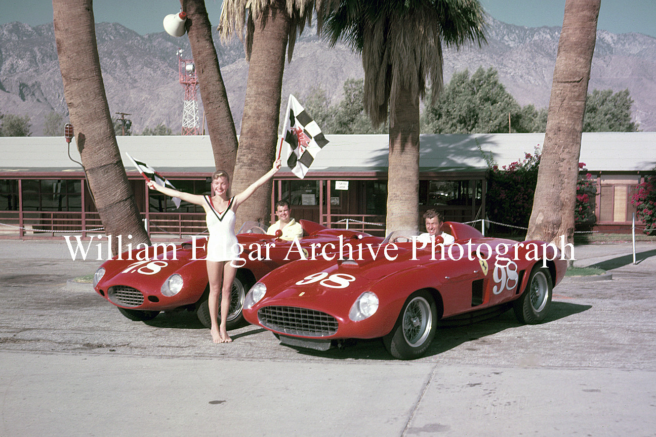 Photography [RV-FSB2F] John Edgar's Ferraris - Jack McAfee 375 Plus and Carroll Shelby 410 Sport - Stephanie Bruton - Palm Springs - November 1956 by William Edgar