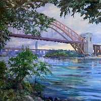 Oil painting Hell Gate Bridge, Astoria, Queens, N.Y. by Elizabeth4361 Medeiros