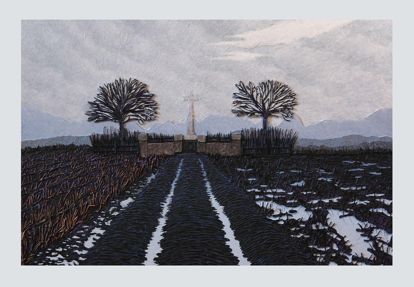 Acrylic painting Weitje Farm Cemetery by Douglas Moulden