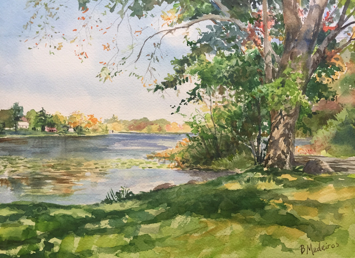 Watercolor Ball Pond, New Fairfield - Boat Launch in Fall by Elizabeth4361 Medeiros