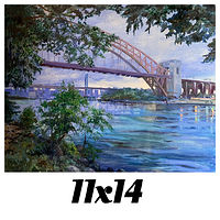 Print Unframed-11x14 Canvas Print- Hell Gate Bridge, Astoria , Queens, N.Y. by Elizabeth4361 Medeiros