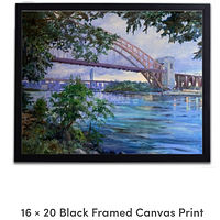 Print Framed 16x20 canvas print - Hell Gate Bridge by Elizabeth4361 Medeiros