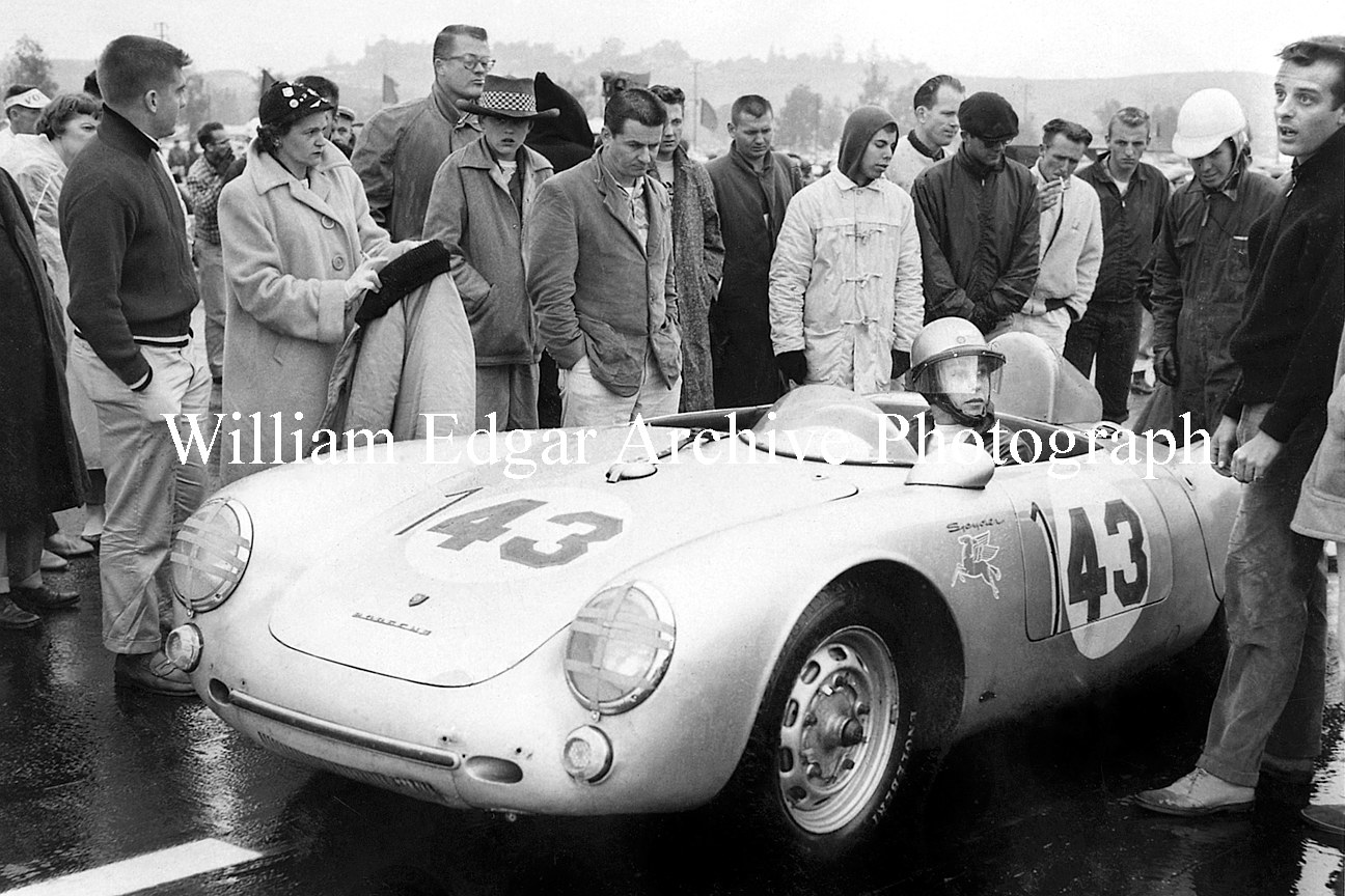 Photography RI-RLPRP] Ruth Levy ready to race John Edgar's Porsche 550 Spyder in the wet at the Pomona, California Fairgrounds - January 20, 1957 by William Edgar