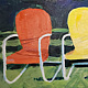 Carey's Chairys  10x 22in acrylic  by Michael Gaudreau