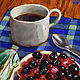 Oil painting Coffee & Cherry Tart by Angelo Mariano