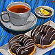 Oil painting Tea & Donuts by Angelo Mariano