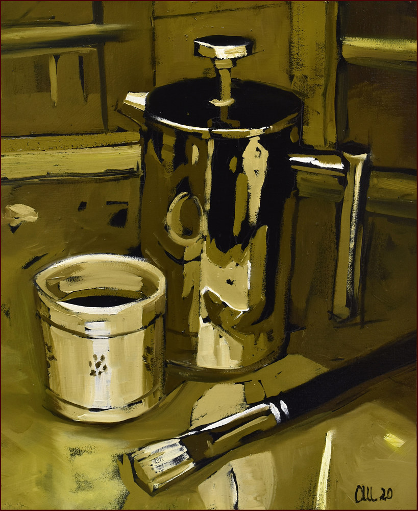 Oil painting Pausa Caffe' by Angelo Mariano