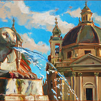Oil painting Piazza Navona (Roma) by Angelo Mariano