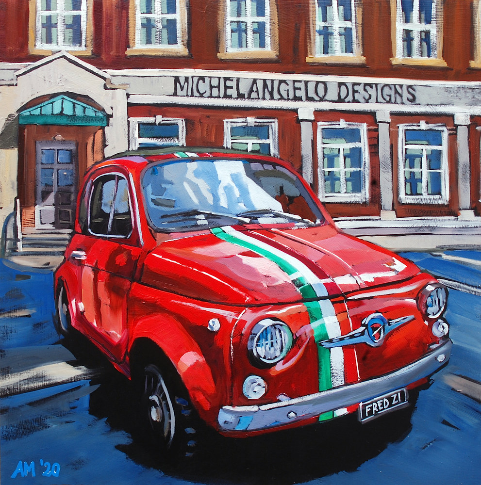 Oil painting Fiat 500 by Angelo Mariano