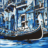 Oil painting Gondola Blu by Angelo Mariano