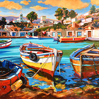 Oil painting Mediterraneo by Angelo Mariano