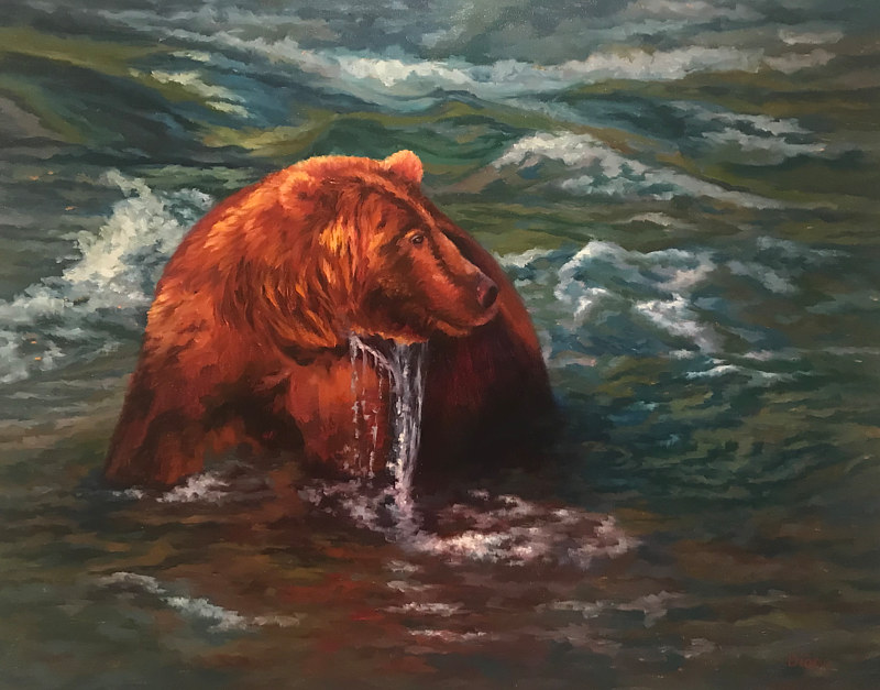 Oil painting Casey the River Bear by Diana Harris by Passionate Painters