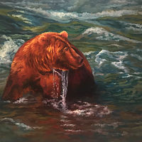 Oil painting Casey the River Bear by Passionate Painters