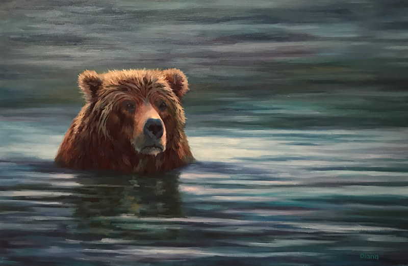 "Oil painting ""Looking a bit Grizzly"" by Passionate Painters"