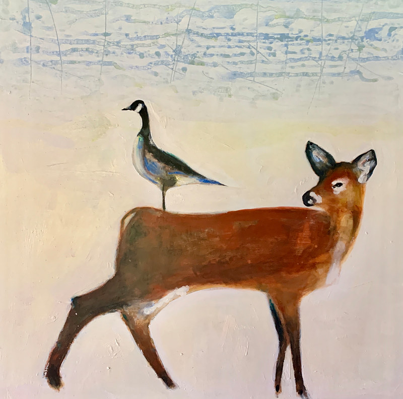 Acrylic painting DeerGoose  by Edith dora Rey