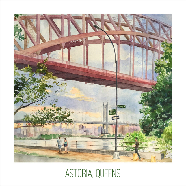 Watercolor 12x12 Signed Gyclee Print Astoria, Queens Shore and Ditmars by Elizabeth4361 Medeiros
