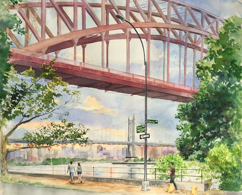 Watercolor 11x14 Signed Gyclee print - Shore and Ditmars, Astoria Queens by Elizabeth4361 Medeiros