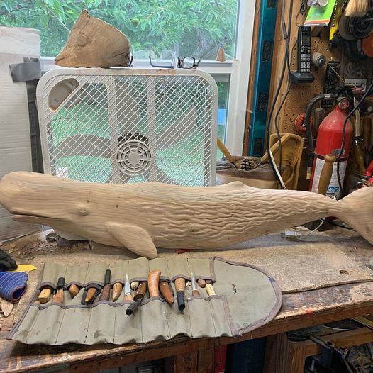 Sperm Whale  carving by Terry Ogle
