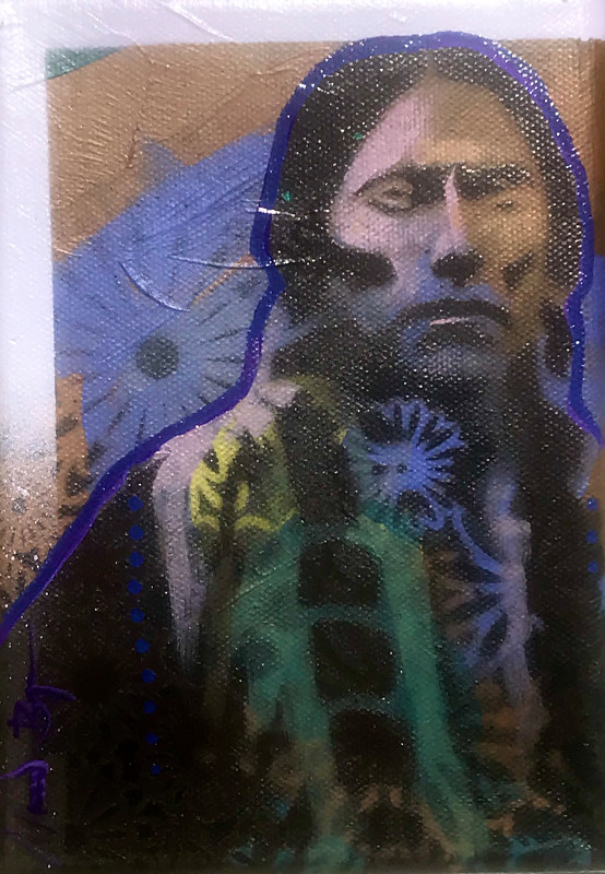 Painting Quanah  5x7 #1  (raffle/fundraiser item)  value $200 by Nocona Burgess