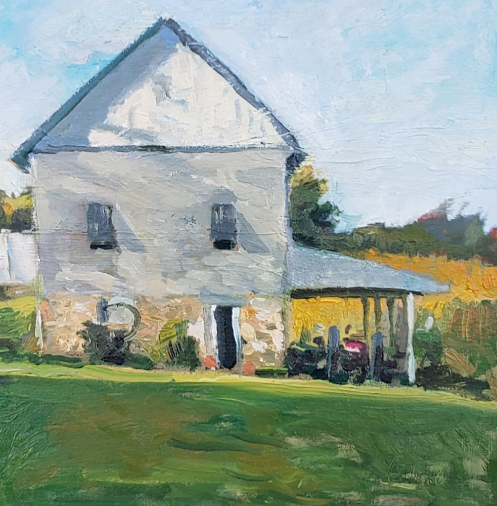 The Gray Barn  10x10oil by Michael Gaudreau