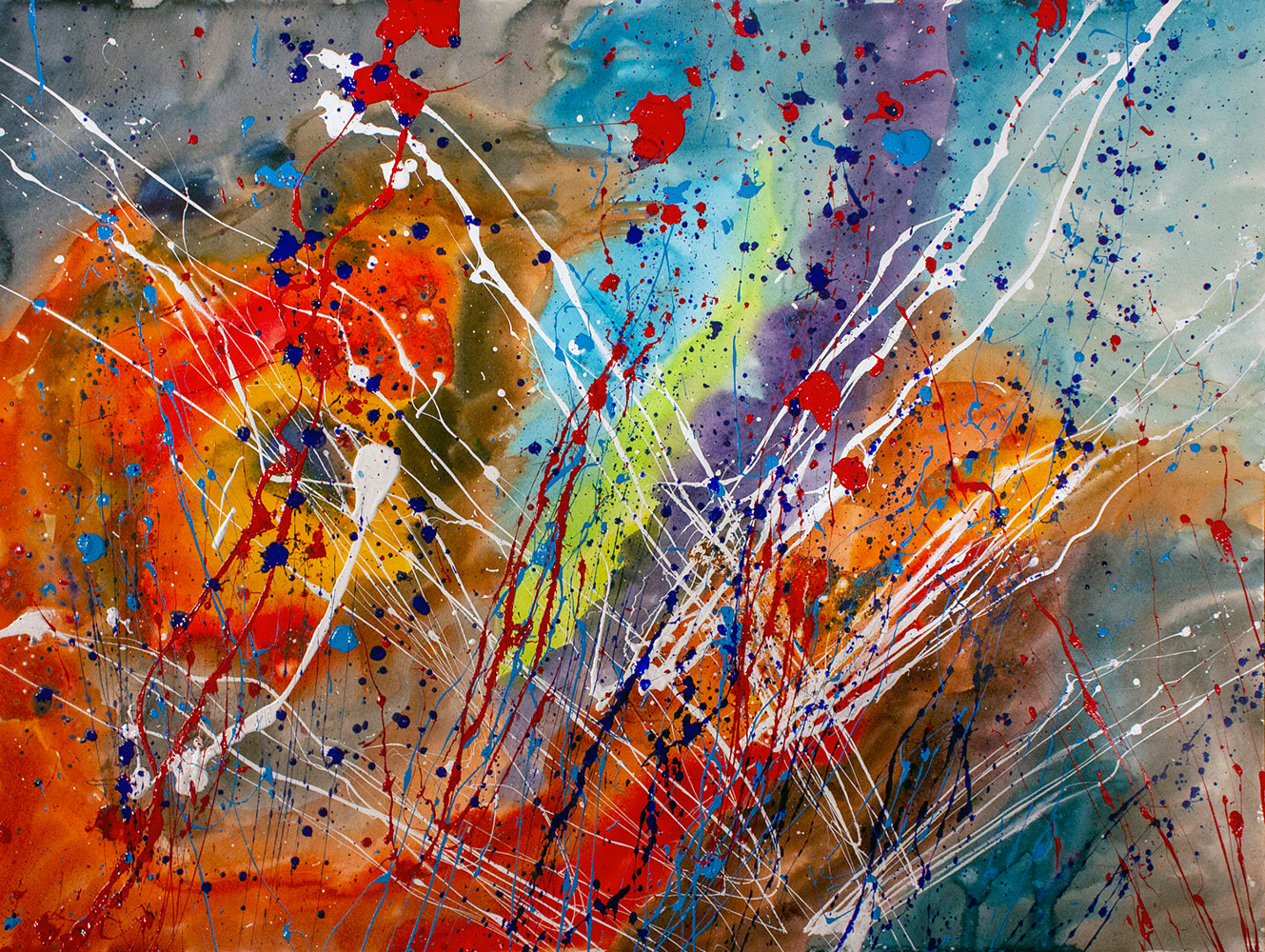 Acrylic painting Fireworks in the middle of a storm | Feu d'artifice au milieu de l'orage by Nathalie Gribinski