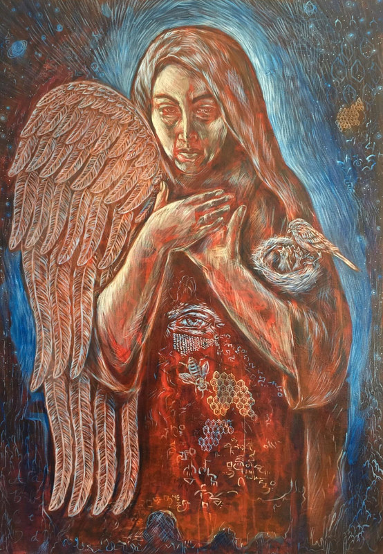 Oil painting The Cosmic Nun - Woman Carrying Creation by Emily K. Grieves